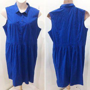 LANDS END 18 Dress Blue Fit Flare Midi Cotton